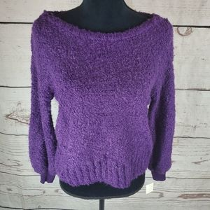 Purple Pullover Sweater Fuzzy Cozy Soft Casual